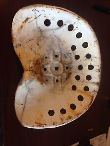 Antique Vintage Metal Tractor Seat Large White