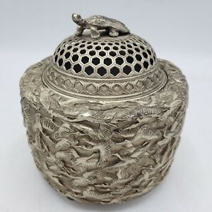 Vintage Chinese Silver Metal Incense Burner With Turtle Finial 5 Tall