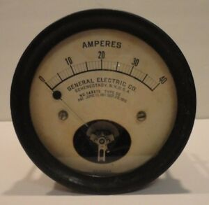 Vintage General Electric Ge D c Amperes Meter Type De