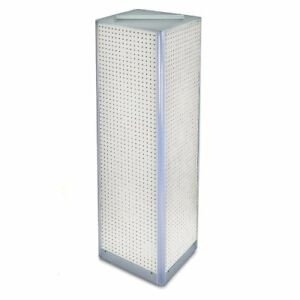 Azar 700405 wht White Four sided Pegboard Spinner Floor Display