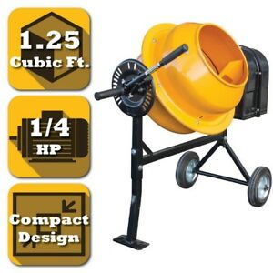 Concrete Mixer Electric Cement Rubber Wheels Dia Drum Opening 1 25cu Ft 1 4 Hp