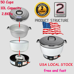 Hot Commercial Rice Cooker 50 Cups 10l Capacity 2 8kpa New Natural Gas Us Fast