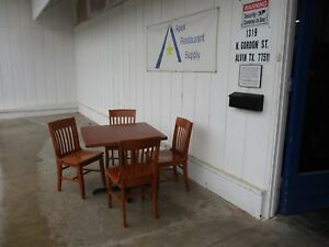 Sets Of 4 Wood Restaurant Chairs And 36x36 Restaurant Table 3601