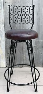 Vintage Mcm Arthur Umanoff Grenada Iron Swivel Counter Bar Stool 24 Seat 1960s