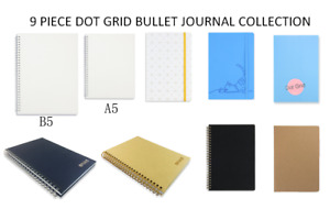 Miliko 9 Piece Dot Grid Bullet Journal Notebooks Collection