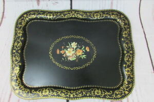 Vintage Large Toleware Tole Metal Floral Hand Painted Tray 22 X 16