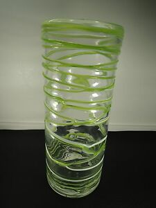 Loetz Bohemian Green To Clear Threaded Antique Art Glass Vase Large 11 61