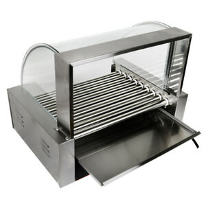 24 Commercial Bread Hot Dog 9 Roller Grill Cooker Warmer Machine W cover Ce