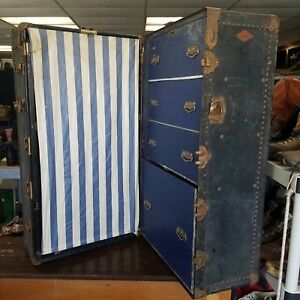Antique Early 1900 S Henry Likly Steamer Wardrobe Travel Trunk Usa Full Size
