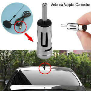 Alloy Connector Car Radio Stereo Aerial Plug Antenna Mast Adapter Iso To Din