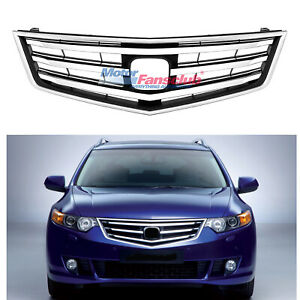 For Honda Acura Tsx 2009 2011 Front Upper Bumper Hood Chrome Grille Grill