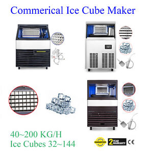 40 200 Kg Commercial Ice Cube Maker Machine 32 144 Cases Snack Bars Ice Spoon