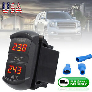 5 60v Red Led Digital Dual Voltmeter Gauge Panel Rv Battery Fit 12v 24v Car Us