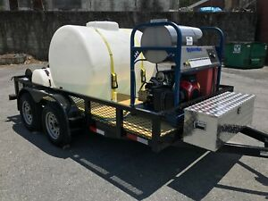 Hot Water Pressure Washer Trailer Mounted 8gpm 3200psi honda Gx630