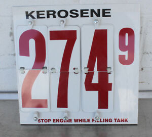 Kerosene Fuel Dispenser Price Sign Metal W Numbers New 15x15