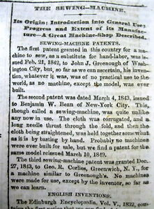 1862 Newspaper With Invention Of The Sewing Machine Best Long Detailed Report
