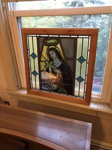 Vintage Stained Glass Window St Rita Of Cascia 25 X 25
