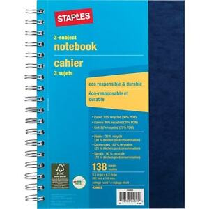 12 pack Staples 430603 3 Subject Notebook 6 1 2 X 9 1 2 Multi colors