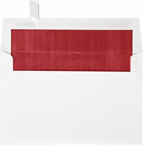 A9 Foil Lined Invitation Envelopes 5 3 4 X 8 3 4 W peel Press White W red 50