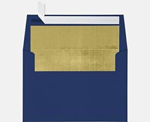 A7 Foil Lined Invitation Lined Envelopes W peel Press 5 1 4 X 7 1 4 Navy Lux