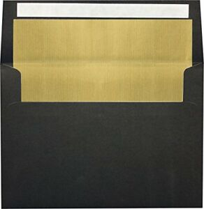 A4 Foil Lined Invitation Envelopes 4 1 4 X 6 1 4 W peel Press Black W gold