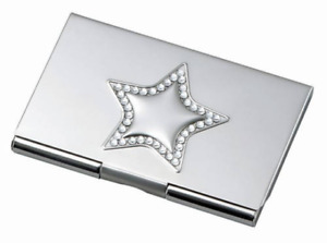 Free Engraving Personalized Silver Business Card Holder With Star And Stones