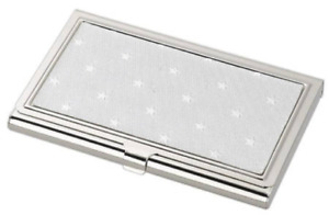 Free Engraving Personalized Silver Fancy Business Card Holder With Star Design