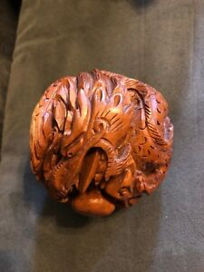 Antique Vintage Hand Carved Japanese Boxwood Netsuke Dragon Ball Dark Wood