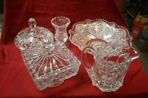 Antique Pressed Glass Collection 5 Pieces