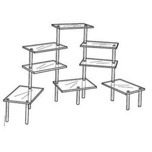 Acrylic Tiered 8 Table Riser Figurine Display Stand Set 4 5 X 9 Shelves