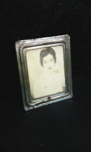Antique Vintage Silver Picture Frame Primitive