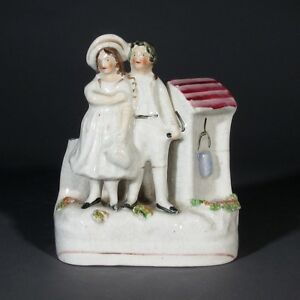 Old English Staffordshire Porcelain Figurine Spill Vase Couple Beside The Well