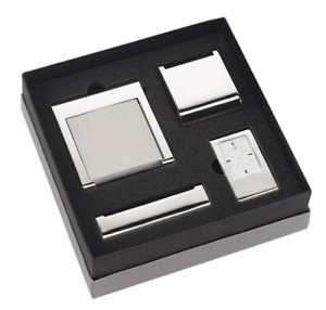 Free Engraving 4 Piece Gift Set Clock Business Card Holder Memo Pad