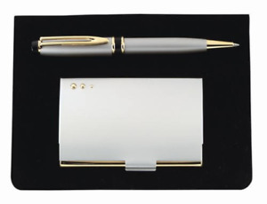 Free Engraving 2 Piece Gift Set With Metallic Business Card Holder And Pen