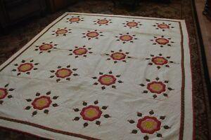 Antique Quilt Hand Stitched Hand Appliqued Stylized Rose 1850 Exceptional Rare