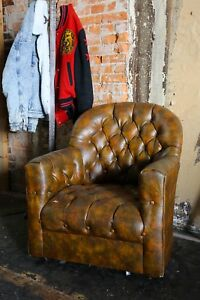 Vintage Chesterfield Tufted Button Brown Club Chair Swivel Seat Armchair Loft