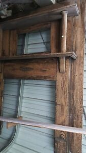 Antique Victorian Columns Quarter Sewn Oak Full Mantel With Beveled Mirror