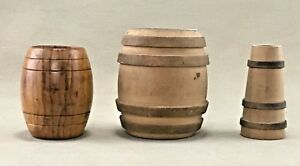 Vintage Miniature Wooden Barrels And Churn Set Of Three 3