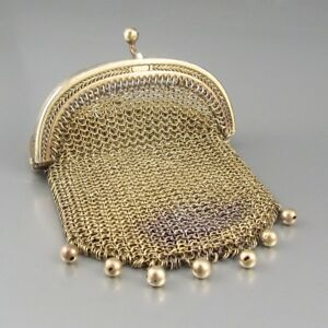 Antique French Sterling Silver Vermeil Gold Washed Mesh Purse Beads Paris