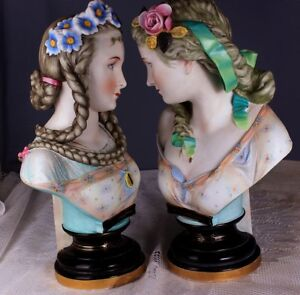Antique Pair Of Paris Porcelain French Sevres Style Bisque Figurines Dolls Busts