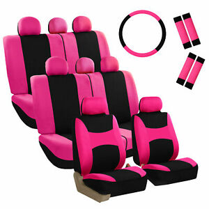 Car Seat Covers For Auto Suv Van Truck 3 Row Pink W steering Wheel belt Pad