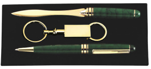 Free Engraving 3 Piece Gift Set Silver With Fancy Letter Opener Pen And Keychain