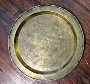Antique Brass Copper Table Top Wall Tray Plaque Persian Middle Eastern 24