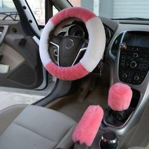 Luxury Pink Luxury Fluffy Fur Steering Wheel 3pc Set Handbreak Gear Shift Nip
