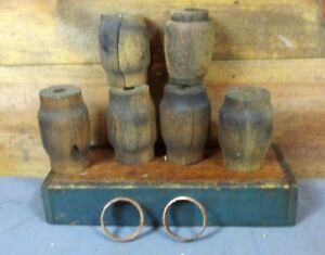 Lot Various Antique Wagon Wheel Hub Wood Primitive Barrel Farm Buggy Rustic