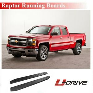 5 Oval Black Side Step Nerf Bars For 1999 2018 Silverado Extended Double Cab