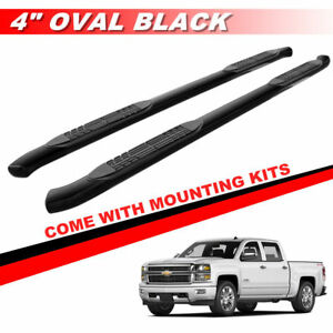 4 Black Curved Nerf Bars Side Steps For 2007 2018 Chevy Silverado Crew Cab