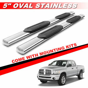 5 Chrome Running Boards For 2003 2009 Ram 2500 3500 Quad Cab Oval Side Steps