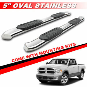 5 Chrome Curved Sdie Bars For 2009 2018 Dodge Ram 1500 Quad Cab Running Boards