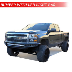 2014 2018 Chevy Silverado 1500 Heavy Duty Steel Front Bumper Guard With Led Bar